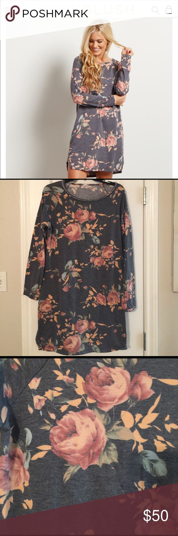 2 floral PinkBlush maternity dresses/ 1 cardigan *GREAT DEAL 3 items!!  1st dress is grey sweater material with peach floral. 2nd dress is green with camel suede top both size Large. I'm usually a medium but pink blush dresses that are shorter have to size up. Last is the cardigan size M with shades of grey/cream and tans. All in great condition. Pinkblush Dresses