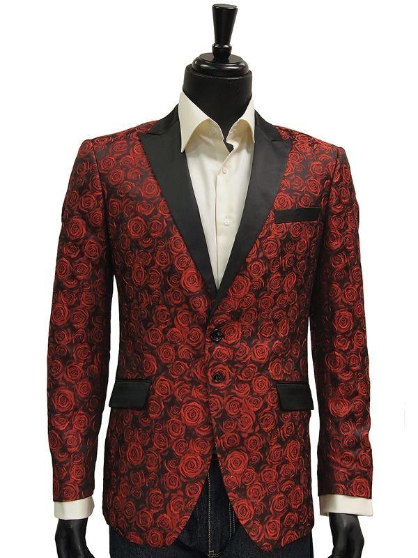 angelino mens red black rose print tuxedo two bttn formal dinner jacket blazer angelino. Black Bedroom Furniture Sets. Home Design Ideas