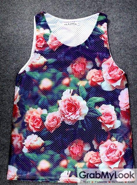 GrabMyLook Pink Roses Floral Flower Net Sleeveless Mens T shirt Vest Sports Tank Top