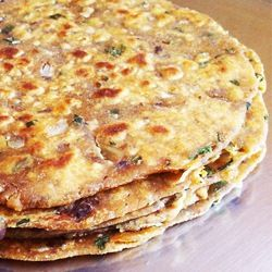 Spicy Rajma Parathas (rajma masala, whole wheat flour (atta), onion, carom seeds, coriander leaves, butter)