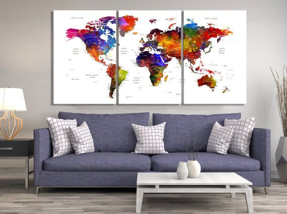 Mejores 25 imgenes de push pin world map canvas en pinterest mapa 3 panel each panel size 16x24 inches total 48x24 inches 3 panel gumiabroncs Choice Image