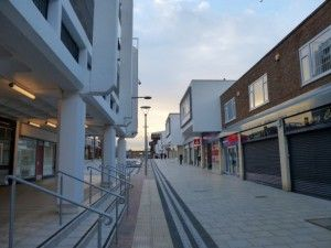 Revamped streetscape in Newton Aycliffe (5 Jan 2014). Photograph by Graham Soult