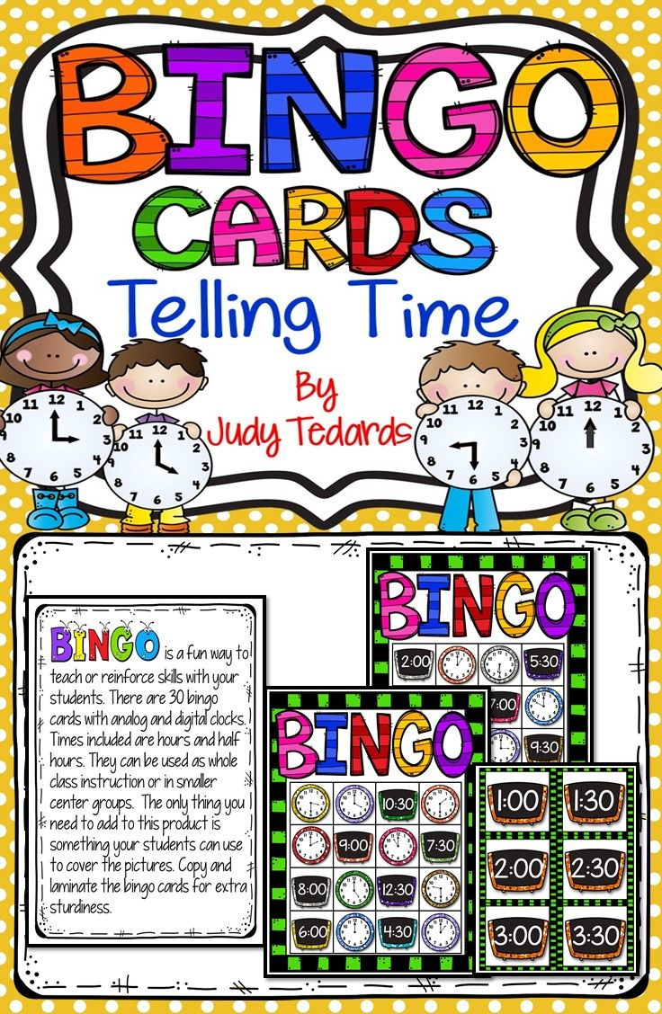Kids love games and BINGO is a fun game that your students will enjoy playing whole class or in small center groups. There are 30 Bingo Cards included in this resource with analog and digital clocks with hours and half hour times. All you need is a supply of small objects like math counters to use to cover up the clocks. Learning should be fun and these Bingo Cards are a fun way for students to learn fractions.