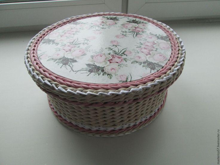 """Купить Плетенная шкатулка """"Нежность """" - бежевый, плетеная корзина, шкатулка, Короб для рукоделия, для хранения"""