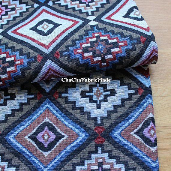 Épaisseur BOHO Bohème ethnique tissu Navajo tissu mexicain tissu Tribal tissu aztèque tissu péruvien tissu Kilim-magnifique géométrique 1/2 de jardinage