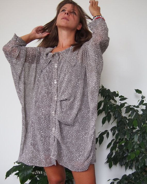 Over-sized Long Chiffon Shirt with Buttons Loose by NaraAtelier65