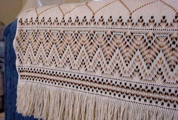 Swedish Weaving Afghan - Browns on Natural Tan. $86.00, via Etsy.