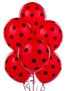 kırmızı siyah puantiyeli baskılı balon