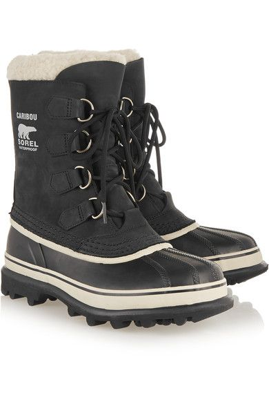 Sorel - Caribou Waterproof Suede And Rubber Boots - Black - US8.5