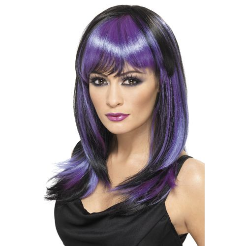 Black and Purple Glamour Wig