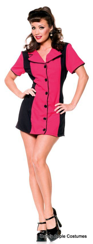 This adult 50's diner waitress style costume includes a mini dress with dark pink and black colorblocks and button front.