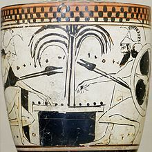 Achilles and Ajax play a board game with knucklebones on this late 6th-centurylekythos, a type of oil-storing vessel associated with funeral...