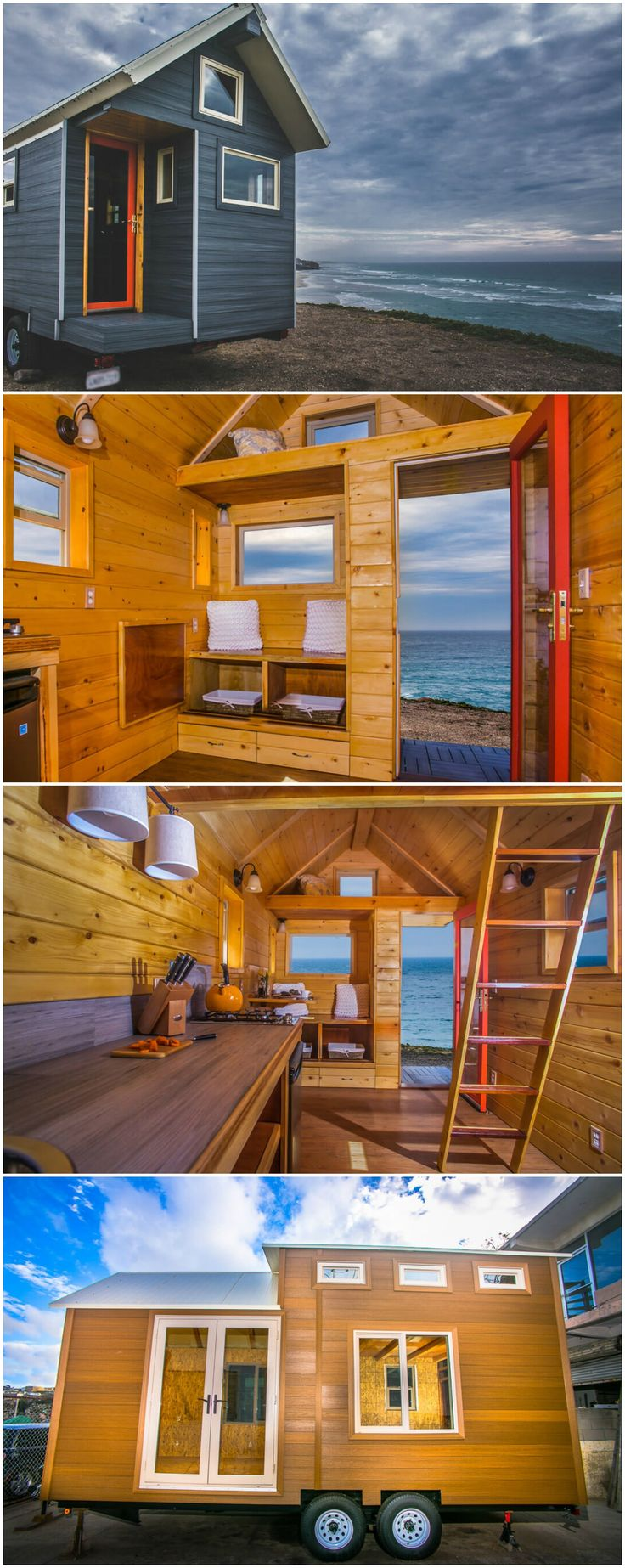 Monarch Tiny Home is a gorgeous tiny house built in San Diego, CA.  The 170 sq.ft. tiny house on wheels uses structural insulated panels (SIPs) for the walls and ceilingwhich makefor a stronger, better insulated structure. LED lighting, extra low VOC interior stain, a self-contained composting toilet, and UltraShield siding made from reclaimed wood fibers and recycled plastic bottles help make this an environmentally friendly option.