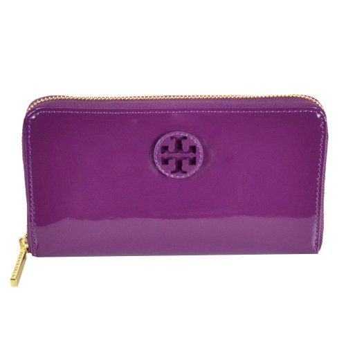 Tory Burch Patent Stacked Logo Zip Continental Wallet Pretty Violet