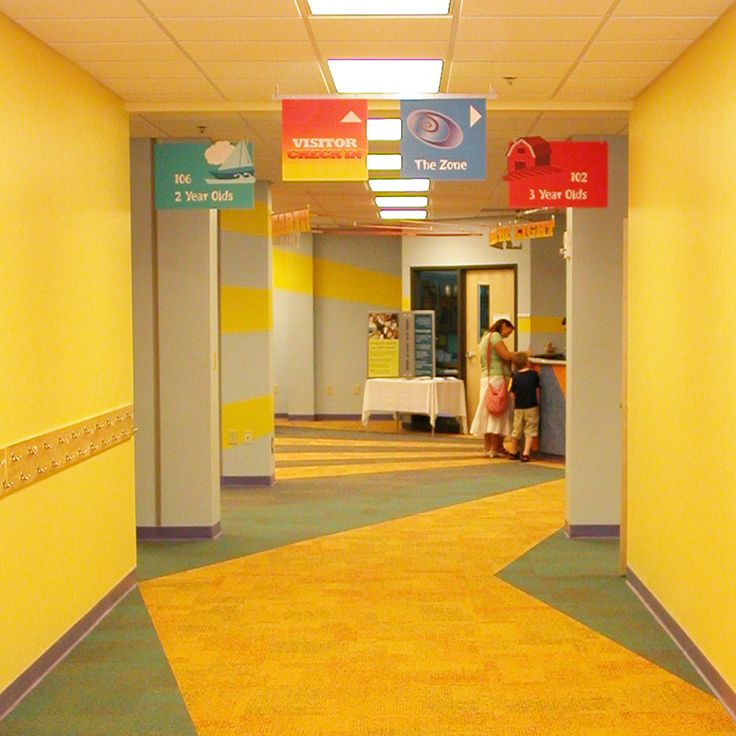 Signs Hung From Ceiling For Sunday School Clrooms Nursery Area Outside Hallway Directional Purposes