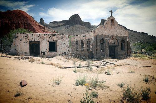 Old Church Ghost Town Texas USA Mexico Border Rio Grande River  DSC_9839x