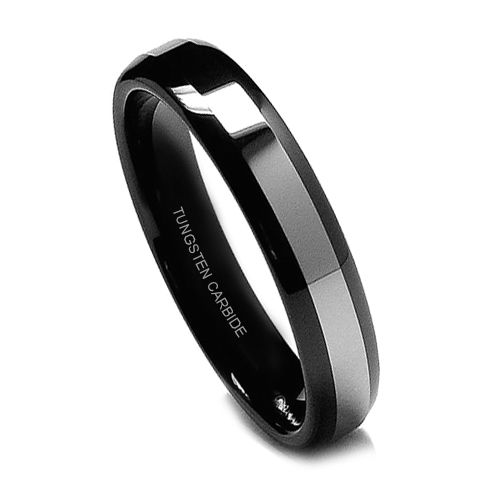 Wedding Ring Bands >> Black Tungsten Ring for Women, Wedding Band with Titanium Top, High Polish, 6MM | Tungsten Rings ...
