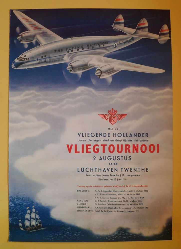 """LARGE ORIGINAL VINTAGE KLM DUTCH AIRLINES CONSTELLATION POSTER - EARLY 1950s ~ On auction is this very rare, original and vintage KLM poster.  This is a large poster, the size is or 27.5""""x39.3"""" It promotes sightseeing flights by KLM's """"Flying Dutchman"""" during an airshow  The airshow was held at Twenthe airport on August 2nd, somehwere in the 1950s.  Tickets were 5 Dutch Guilders  (usd 2.40) for children up to 12 years old. For everybody over 12 years the price was 10 Dutch Guilders (usd…"""