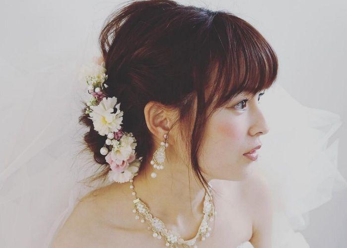 やっぱり【前髪あり】が最強です♡可愛すぎる前髪ありの花嫁ヘアアレンジ特集*のトップ画像