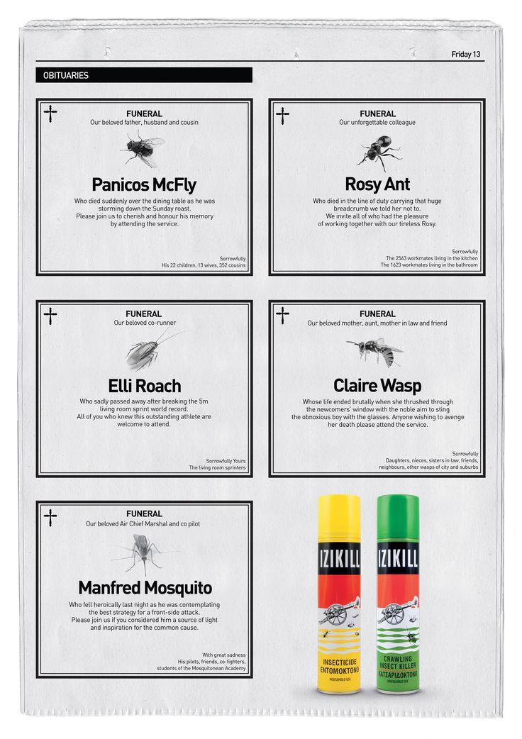 Case: Obituaries Newspaper Ad 殺虫剤ブランド・Izikill Insecticideが、キプロスで実施したユニークな新聞広告。  新聞の「お悔やみ欄」を使ってこんな