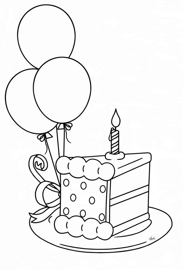 Birthday Cake Coloring Page Cake Drawing Birthday Card Drawing