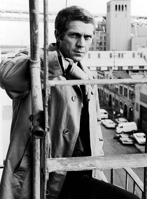 """Steve McQueen on the set of the 1968 film """"Bullitt""""."""