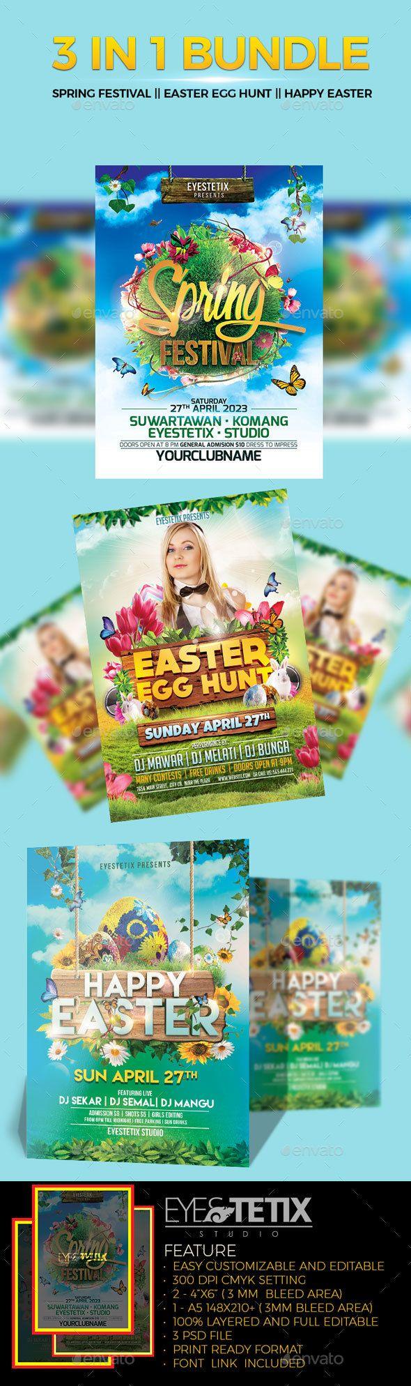 3 in 1 bondle Spring Festival - Easter Egg Hunt - Happy Easter flyer - Holidays Events
