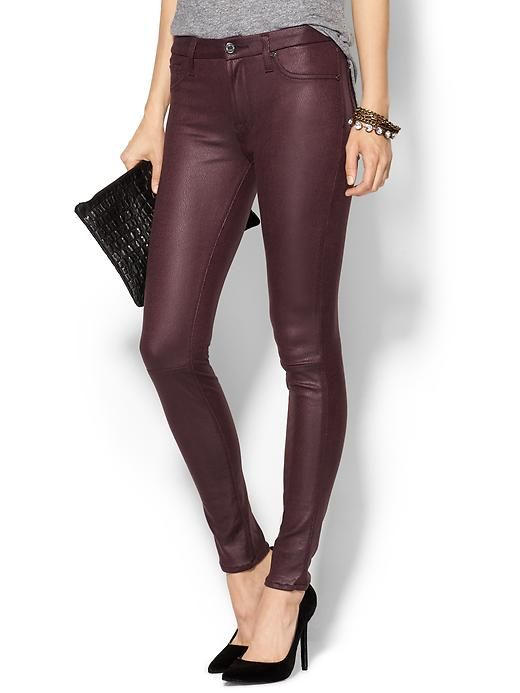 Oxblood coated skinny jeans