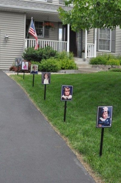 A Cute and Sentimental Welcome - I believe that first impressions are everything. This cute idea is sure to be a hit with all of your guests and may get them emotional before they even enter the party. Warning: it may embarrass your graduate!