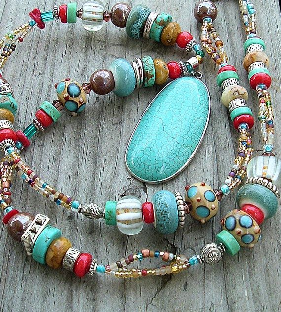 BohoTurquoise Necklace Statement Necklace Multi by BohoStyleMe
