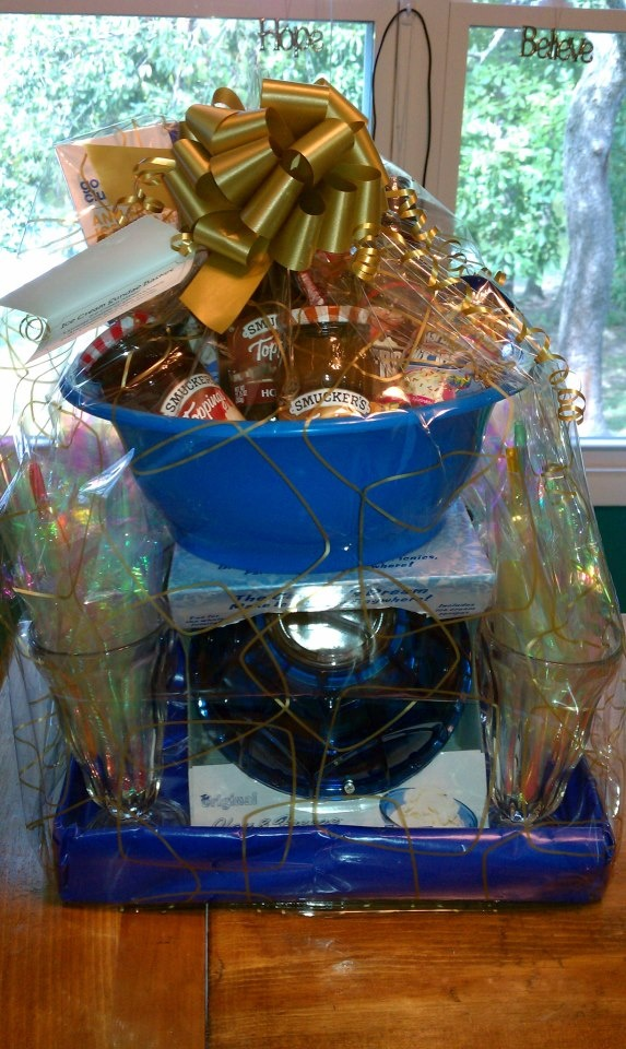WE HAVE A ICE CREAM MIXER . .Ice Cream Sundae Basket  Ice Cream Maker, 4 Sundae Glasses w/ 4 spoon/straws, Anti-Freeze Ice Cream Scoop, Sugar Cones, Syrup & 4 Toppings for the Michael Kolich Fundraiser