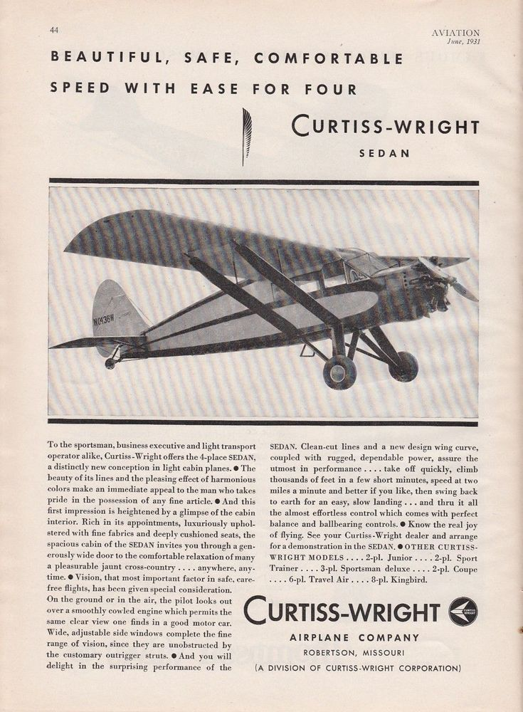1931 curtisswright airplane co robertson mo ad curtiss