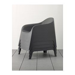 IKEA - SKARPÖ, Armchair, outdoor, white,  , , The drain hole in the seat lets water drain out.Can be stacked, which helps you save space.