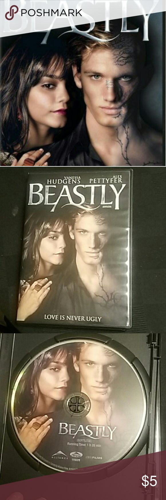 BEASTLY DVD Vanessa Hudgen's Beastly DVD Only watched twice since purchase, not my type of movie  Small scratches on back, but no skips or pauses during play  Tags: Vanessa hudgens DVD movie Beastly movies Hot Topic Other
