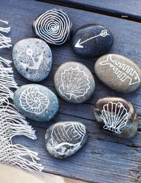 △ diy. You simply gather pretty and smooth rock and use a paint sharpie to draw nautical motifs on the rocks.  Its a great think to do on holiday as a little souvenir.