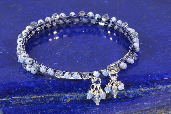 Blue Pin Stripe Lashed Memory Wire Bracelet