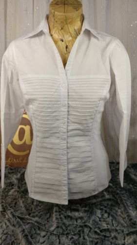 5e18af3f257c2e Zac and Rachel Womens Medium M White Top Blouse Tuxedo Pleated Front ...