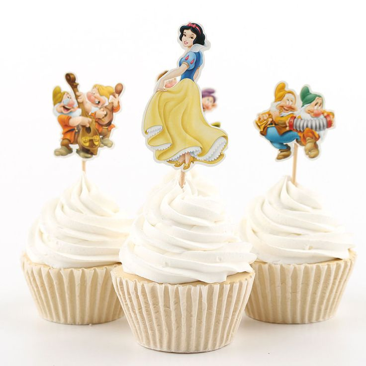24pc birthday Party Ornament Snow White and the seven dwarfs Cakes inserted card   Home & Garden, Greeting Cards & Party Supply, Party Supplies   eBay!