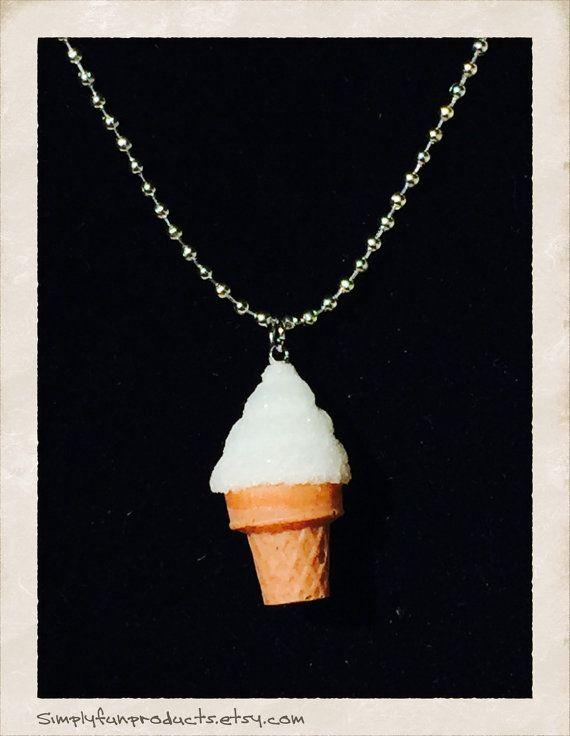 Vanilla ice cream pendant ice cream necklace by WhitePansyBoutique