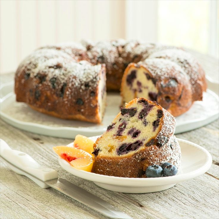 Blueberry Peach Pound Cake -- a seasonal favorite that's easy to make and hard to resist