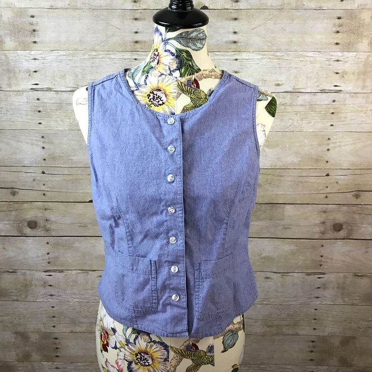 Women's Karen Scott Sleeveless Button Down Denim Top Blouse Chambray Shirt PM  | eBay