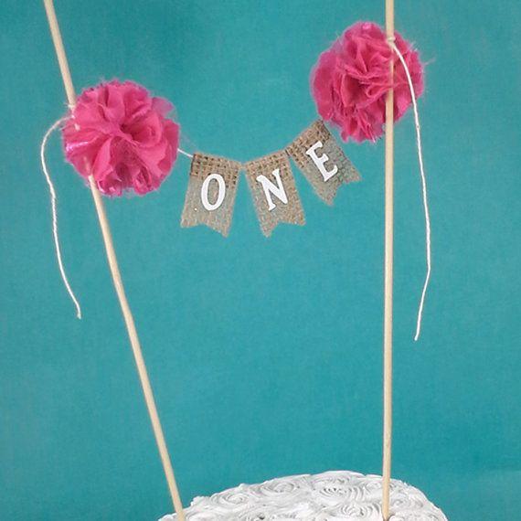 Burlap Cake banner hot pink smash cake birthday by Hartranftdesign