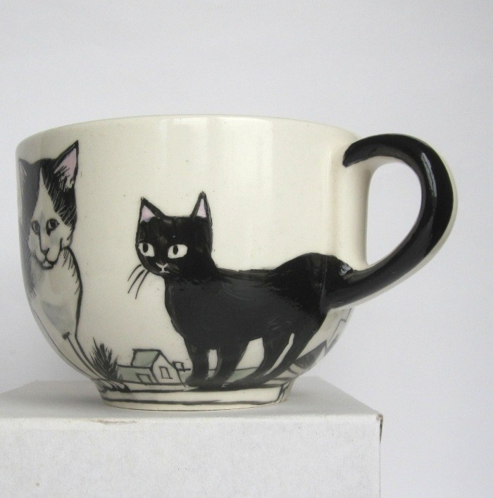 Cats on Amsterdam Rooftops Large Hand Painted Mug