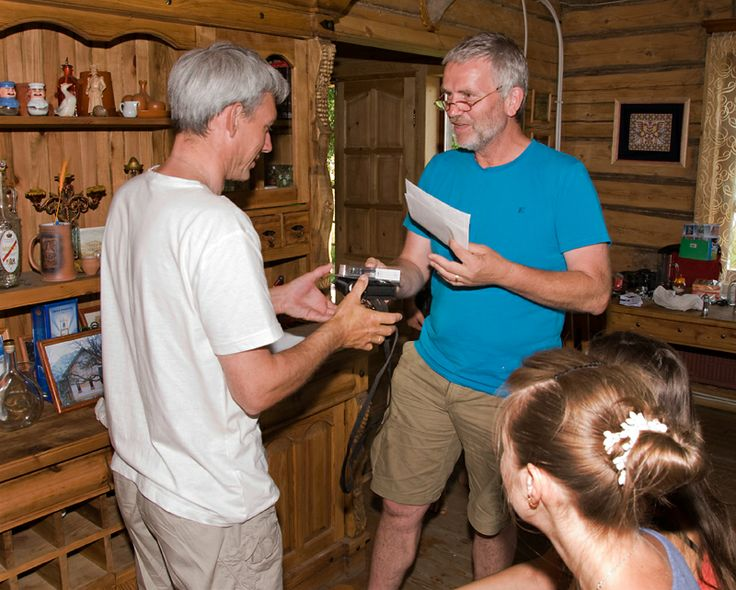 Valerij Dombrowskij receives a bat detector from Fons Bongers, the project leader. Valerij took part in the workshop 'Bat Research and Conservation in Belarus', organised by The Habitat Foundation in 2012.