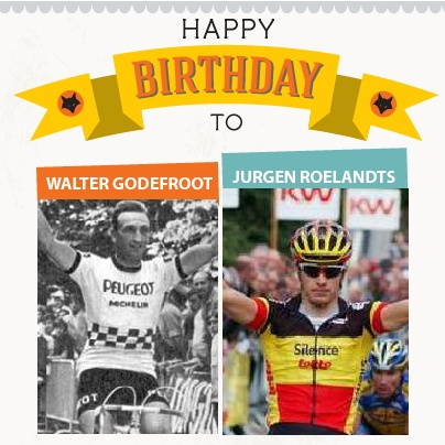 """Tring! Tring! Happy Birthday!    Walter Godefroot was born on this day in 1943. """"Walter Godefroot is the only one of my adversaries who I never beat in a direct fight for victory"""", said Eddy Merckx.    Jurgen Roelandts was born on this day in 1985. The Belgian rider was placed 5th in the 2011 World Championship Road Race behind Mark Cavendish of Great Britain, Matt Goss of Australia, Andre Greipel of Germany, and Fabian Cancellara of Switzerland."""