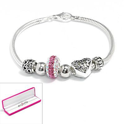 Individuality Beads Sterling Silver Snake Chain Bracelet And Crystal Openwork Heart Bead Set