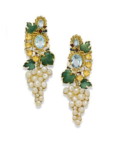 A pair of enamel, gem-set, cultured pearl and gold pendant earrings