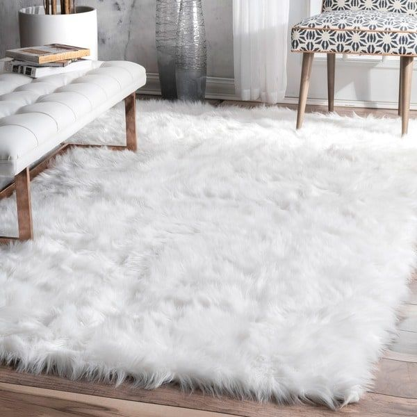 Nuloom Faux Flokati Sheepskin Soft And Plush Cloud White Shag Area Rug White Shag Area Rug White Rug Living Room White Rug Bedroom