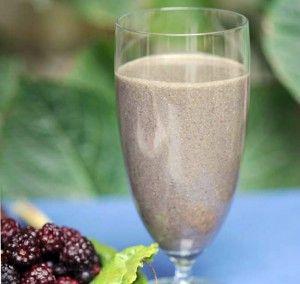Dr. Amen's Brain-Smart Start Smoothie.  Blueberries, cherries, banana, spinach, cucumber, hemp seeds, coconut oil, protein powder, powdered greens, almond milk.