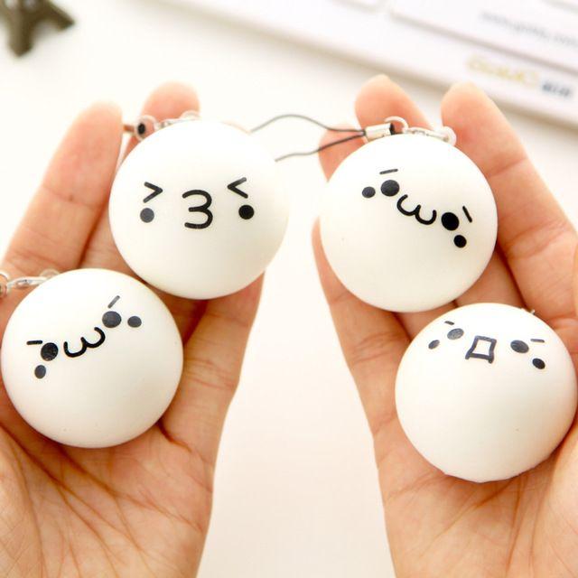 5pcs/set 5 Different Parten Cute Cartoon Face Squishy Buns Bag Key Mobile Phone Straps Pendant 4cm Chain Cellphone For Iphone7